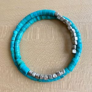 Turquoise and silver bracelet by Saundra Messinger